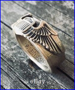 1941 WW2 US ARMY AIR FORCE CREWMAN PIN COIN Ring WOMENS Silver Medal WAC CORPS