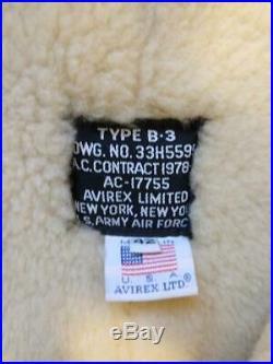 AVIREX B-3 Mouton Bomber Flight Jacket Size 42 Sheep Leather US Army Airforce