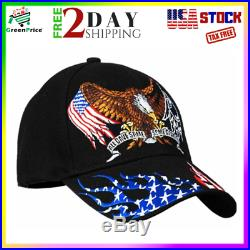 American Patriotic Hat with Eagle Black US Army Navy Air Force Veterans Cap Gift