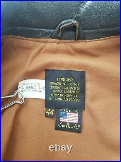 Avirex A-2 US Army/Air Force Brown Leather Flight Jacket Men's Size 44