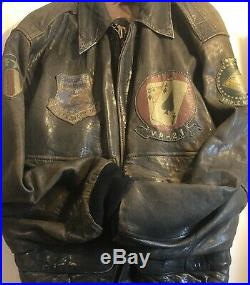 Avirex Type A-2 Bomber Black Leather Jacket Sz U. S Army Air Force USA /14H35