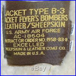 B-3 Bomber Jacket Brown LEATHER/SHEEPSKIN USA Made U. S ARMY AIR FORCE C-18604