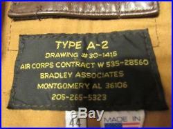 Bradley Associates Type A-2 Leather U. S. Army Air Force Bomber Jacket Size 44