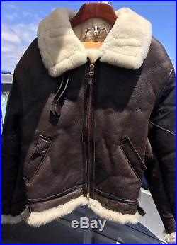 COCKPIT Leather Jacket Shearling B-3 Bomber Flight Air Force US Army (New $1100)