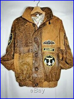 Mens VTG 80s US Army Air Force Pilot Flying Jacket Leather 42 Brown USAAF Rare