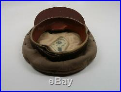 NAMED WW2 US Army military visor cap hat Officer Air Force Corp tan THEATER MADE