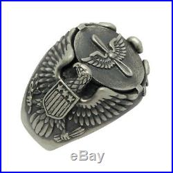 Prop and Wings US Army aviation Air Force Sterling Silver Eagle Biker mens ring