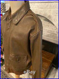 RARE Avirex Type A-2 Bomber Leather Jacket 44 U. S Army Air Force Made In USA