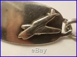Rare Vintage WW2 US Air Force Army Blue Enameled Sterling Silver ID Bracelet