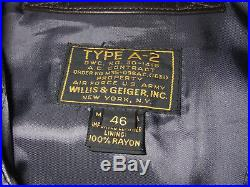 Rare WILLIS & GEIGER Air Force US Army A2 Brown Leather Flight Jacket Sz 46 NWT
