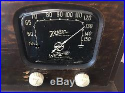 Restored antique Zenith 5-G-5000LR portable tube radio 5G500 US Army Air Force