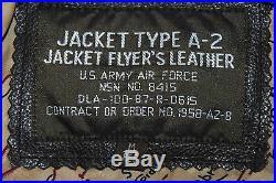 Us Army Air Force Flyers Men's Leather Type A-2 Flight Jacket Size Medium Reg