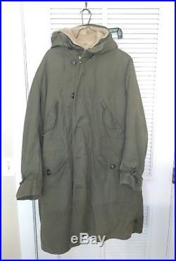 VTG M-1947 M47 US Army Air Force Overcoat Parka Coat Jacket With Pile Liner AF10