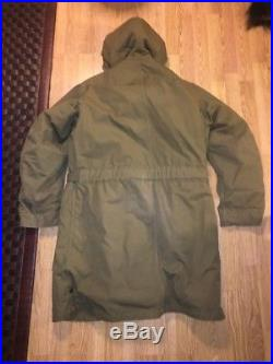VTG M-1947 M47 US Army Air Force Overcoat Parka Coat Jacket With Pile Liner M X27