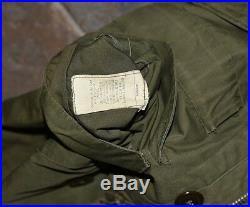 Vintage 50s US AIR FORCE M-1947 1951 KOREAN WAR OVERCOAT PARKA JACKET SIZE S