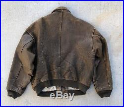 Vintage Avirex A2 A-2 Patches Flight Leather Jacket size Large US Army Air Force