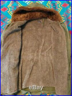 Vintage B-11 1943 Wwii Us Army Air Force Alpaca Lined Parka Jacket Size 42