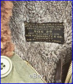Vintage B-11 AIR FORCE JACKET Alpaca Mouton Military WWII US Army Flight Coat 36