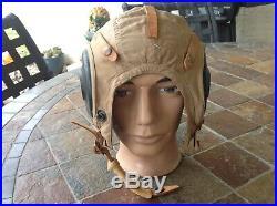 Vintage WW2 Era US Army Air Force Pilot Cap Flight Helmet Bates Shoe Co AN H-15