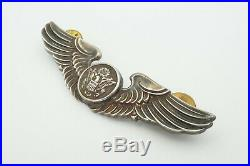 Vintage WWII US Army Air Force Sterling Silver Aircrew Wings Pin