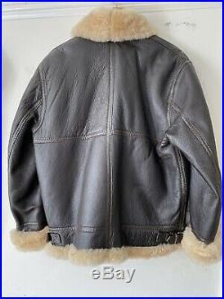 Vintage Ww2 Us Army B1 Style Leather Sheepskin Flying Jacket Air Force Aviation