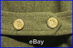 Vtg 1943 WWII US Army Airforce Overcoat M/L Communication Specialist Trenchcoat