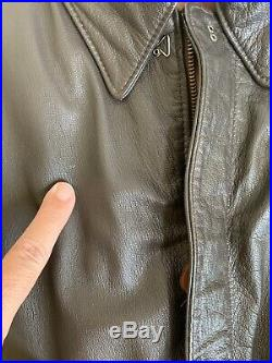 Vtg Avirex Ltd Leather Bomber Jacket Type A2 US Army Air Force Brown Goatskin 46