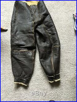 Vtg Type A-5 US Army Air Force WWII Sheepskin Leather Flight Pants Size 38R