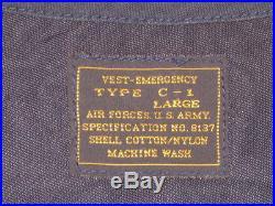 Vtg USAF US Army Air Force Type C-1 Emergency Survival Sustenance Vest Jacket