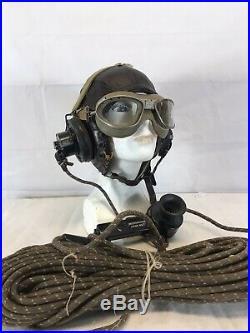 WW II US Army Air Force Leather A-11 Flight Helmet, googles And Head Set B-25