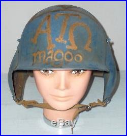 WW2 Military US ARMY AIR FORCES M3 Flak HELMET Lt McGill Original ATO Folk Art