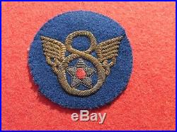 WW2 US Army Air Force 8th AAF Bullion patch British made Stubby wing