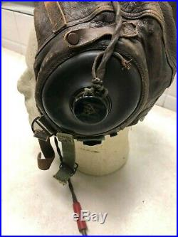 WW2 US Army Air Force A-11 Leather Flying Helmet Size Large