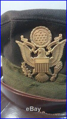 WW2 US Army Air Force AAF E-Z Cushion Pilot Officer Crusher Cap with Badge
