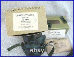 WW2 US Army Airforce-RAF A-14 Oxygen Mask with Original Box Papers June 1945 EXC