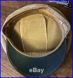 WW2 Vintage Authentic US ARMY AIR FORCE Officers Peak CAP Khaki Tan HAT 7 1/4