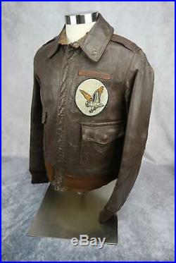 WW2 officer US Army Air Force Corp leather A2 bomber jacket USAF NAME group 38