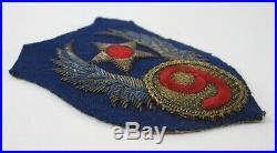 WWII 9th Air Force Bullion Patch US Army Air Corps Wool Felt Original 3.5