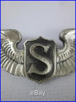 WWII US Army Air Force 3 Service Pilot Wing Clutchback Sterling Silver USAAF