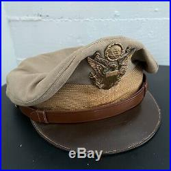 WWII US Army Air Force AAF Officer's Crusher Cap Hat Sz 7 1/4 Original