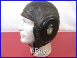WWII US Army Air Force AAF Type A-11 Leather Pilot Flying Helmet Sz Large 1944
