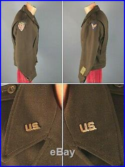 WWII US Army Air Force Officer's ETO Made Ike Jacket USSTAF Patch WW2 #7517