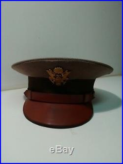 WWII US. Army Pink Toupe Officer Dress Hat Fine Gabardine. Air Force