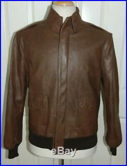 Willis & Geiger A-2 Us Air Force Army Brown Leather Flight Jacket 40 USA Made