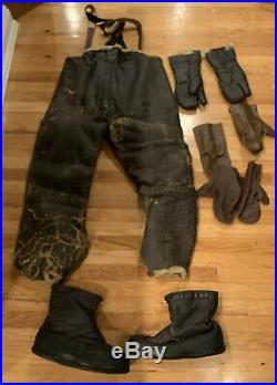 Ww2 Us Army Air Force Leather Flying Pilot Pants Large Boots Gloves B-17 Gunner