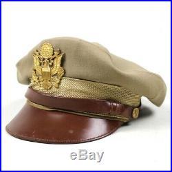 Ww2 Us Army Air Forces Usaaf Officer Dress Cap Visor Hat Khaki Cotton Tropical